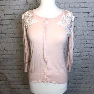 Ann Taylor Pastel Pink Cardigan Lace Shoulders